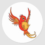 Red and Yellow Swallow Classic Round Sticker