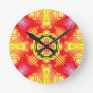 Red And Yellow Symmetrical Design Round Wallclock