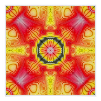 Red And Yellow Symmetrical Design Poster