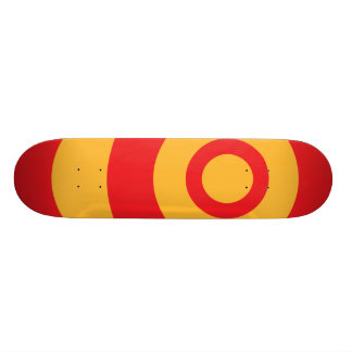 Red and Yellow Target Circle Rims Cool Retro Mod Skateboard Deck