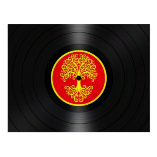 Red and Yellow Tree of Life Vinyl Record Graphic Postcard