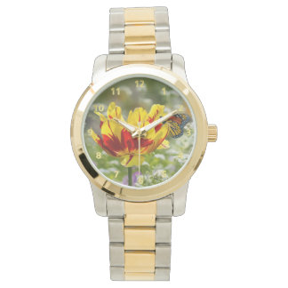 Red and Yellow Tulip and Butterfly Watch
