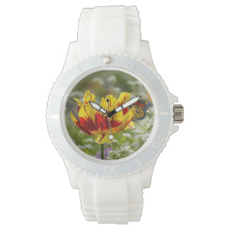 Red and Yellow Tulip and Butterfly Wristwatch