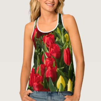 Red and Yellow tulip flowers  for happy spring Tank Top