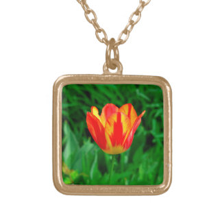 RED AND YELLOW TULIP PHOTOGRAPHY NECKLACE