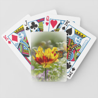 Red and Yellow Tulip with Butterfly Playing Cards