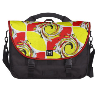 Red and yellow twister bags for laptop
