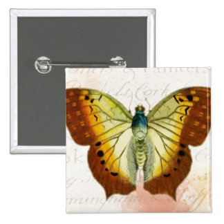 Red and Yellow Vintage Style Butterfly 2 Inch Square Button