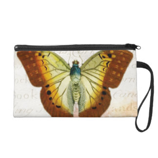 Red and Yellow Vintage Style Butterfly Wristlet Purse