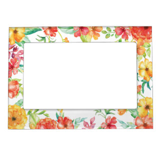 Red and Yellow Watercolor Flowers Magnetic Photo Frame
