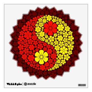 Red and Yellow Wild Flowers Yin Yang Wall Decal