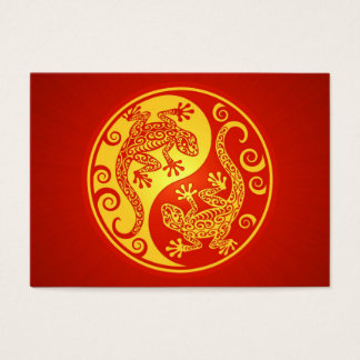 Red and Yellow Yin Yang Geckos Business Card