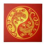 Red and Yellow Yin Yang Geckos Ceramic Tile