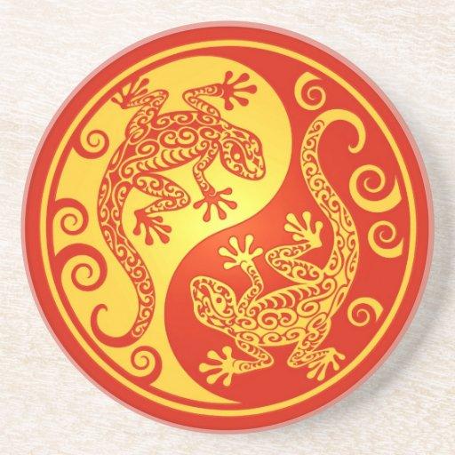 Red and Yellow Yin Yang Geckos Coasters