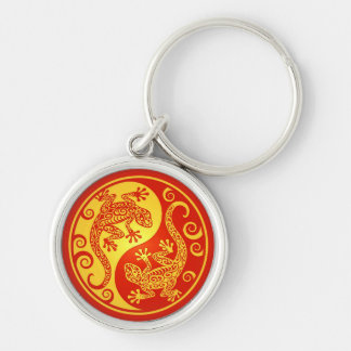 Red and Yellow Yin Yang Geckos Keychain