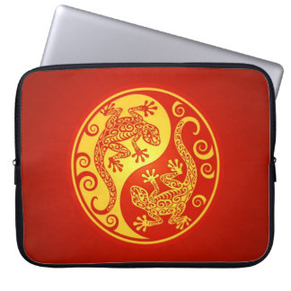 Red and Yellow Yin Yang Geckos Laptop Computer Sleeves