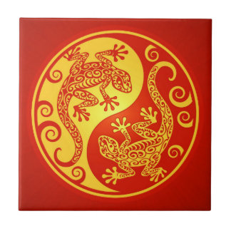 Red and Yellow Yin Yang Geckos Ceramic Tile