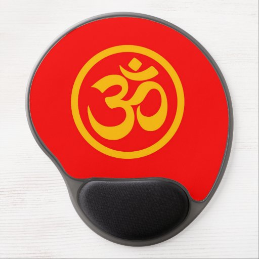 Red and Yellow Yoga Om Circle Gel Mouse Pad