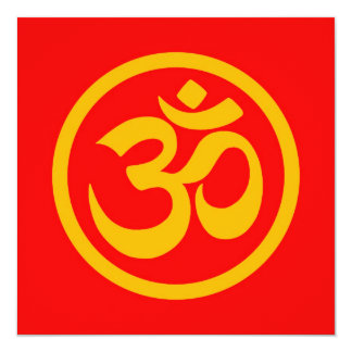 Red and Yellow Yoga Om Circle 5.25x5.25 Square Paper Invitation Card