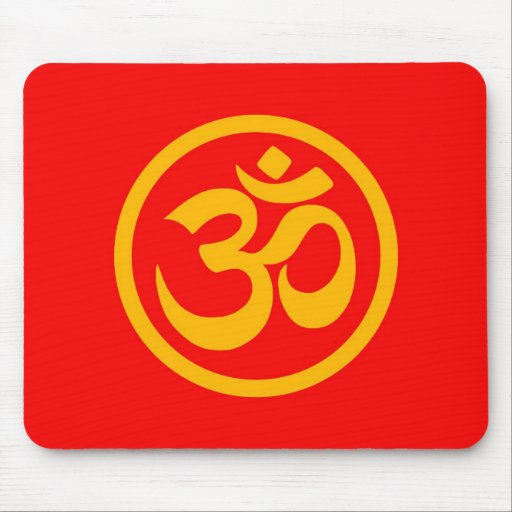 Red and Yellow Yoga Om Circle Mousepad