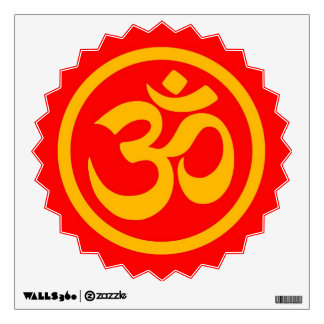 Red and Yellow Yoga Om Circle Room Decals