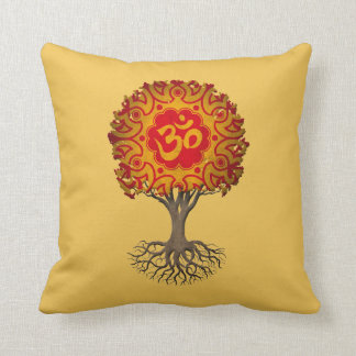 Red and Yellow Yoga Om Tree of Life Throw Pillow