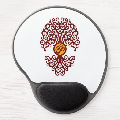 Red and Yellow Yoga Om Tree on White Gel Mouse Mat
