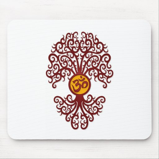 Red and Yellow Yoga Om Tree on White Mousepad
