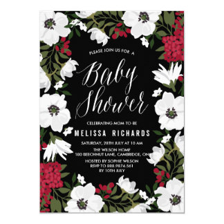 Red Anemone Blooms Baby Shower Invitation