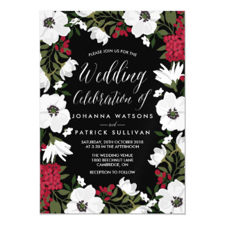 Awesome Red Anemone Blooms Magnetic Wedding Invitation