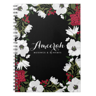 Red Anemone Blooms Personalized Notebook