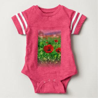 Red Anemone Coronaria Baby Football Bodysuit