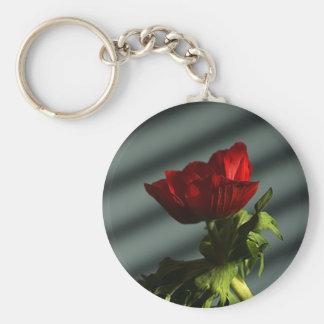 Red Anemone Basic Round Button Keychain