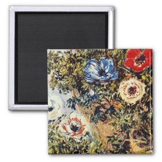 Red Anemones, Claude Monet flowers magnet