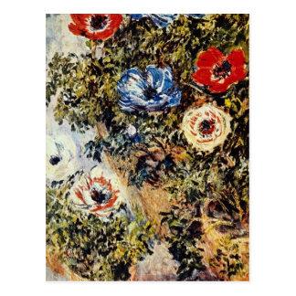 Red Anemones, Claude Monet flowers Postcard