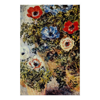 Red Anemones, Claude Monet flowers Poster