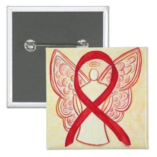 Red Angel Awareness Ribbon Custom Art Pins