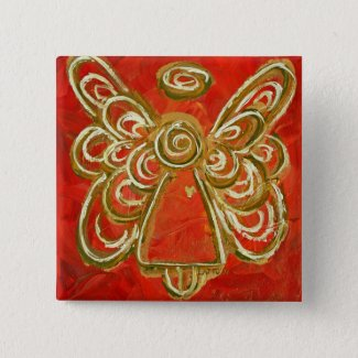Red Angel Button Pin