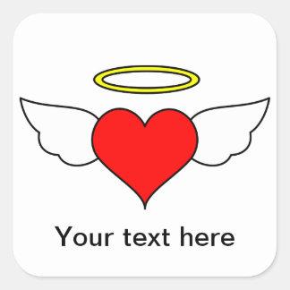 Red Angel Heart Wings Halo Sticker
