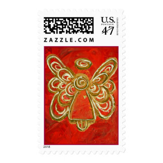 Red Angel Postage Stamp