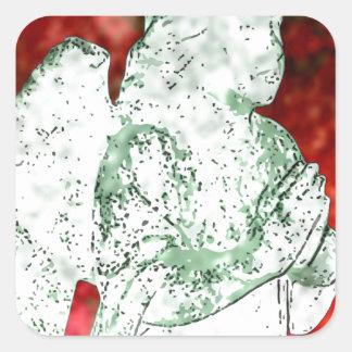 red angel square sticker