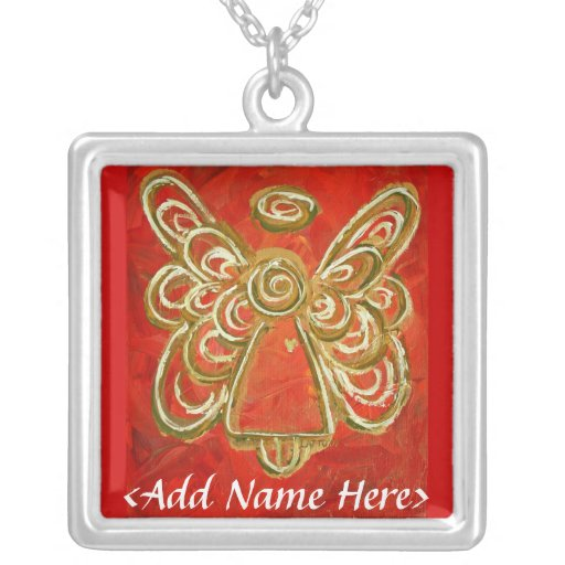 Red Angel Wings Silver Necklace with Name