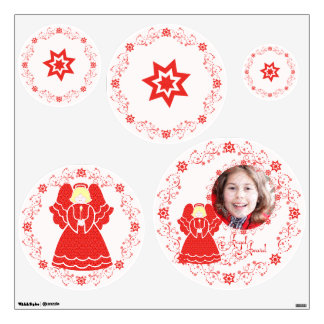 Red Angles and Star Spirals Wall Decal