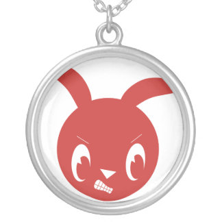Red Angry Bunny Round Pendant Necklace