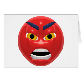 red angry smiley greeting card