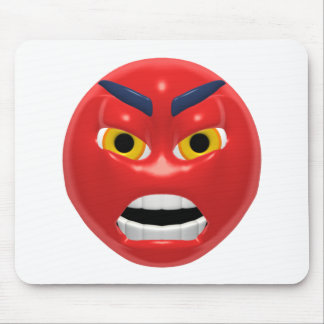 red angry smiley mouse pad