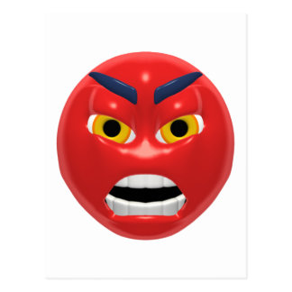 red angry smiley post card