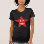 red angry star face smile tshirt