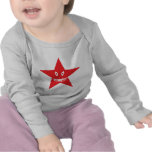 red angry star face smile tshirts
