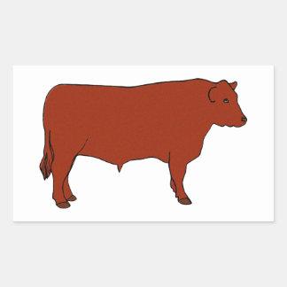 Red Angus Bull Rectangular Sticker